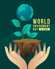 world environment day banner with hand hold care globe tree on earth ground vector design