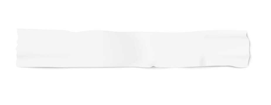Piece of white adhesive masking duct tape, blank used insulation strip in long thin line