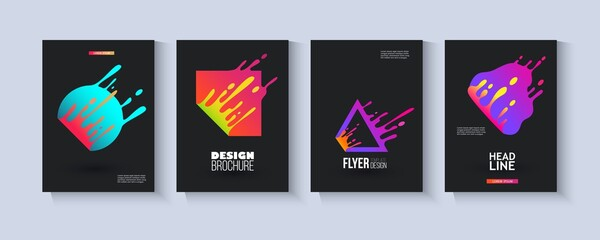 Template set with colorful fluid geometric shapes splashing in motion flat style