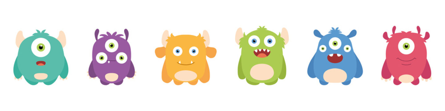 Set of cute monsters. Cartoon characters. Flat style. Vector illustration