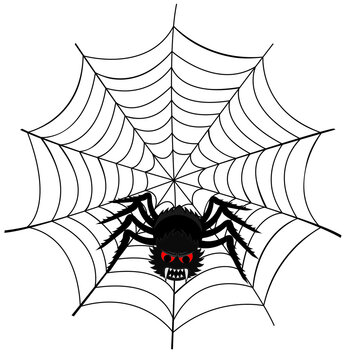 Vector illustration of a spider web with a scary spider