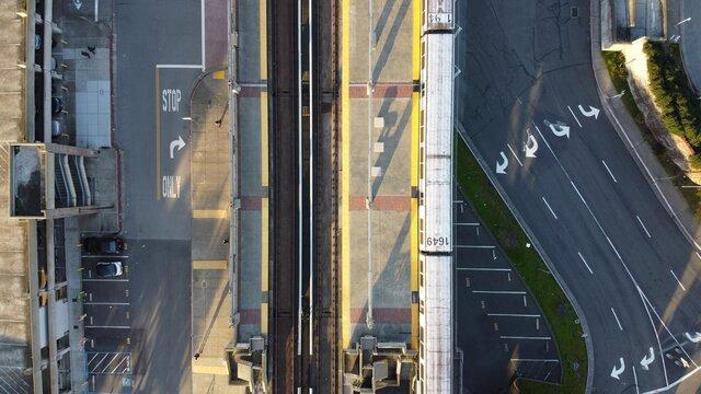 Aerial shot of the  San Francisco Rapid Transit at Daly city