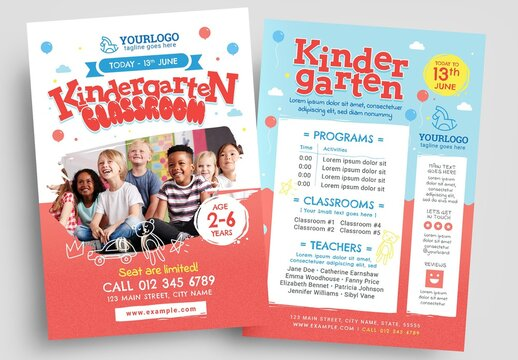 Playful Kindergarten Flyer Layout for Preschool Childcare Services