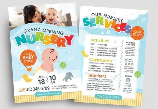 Illustrated Nursery Flyer Layout for Kindergarten and Preschool