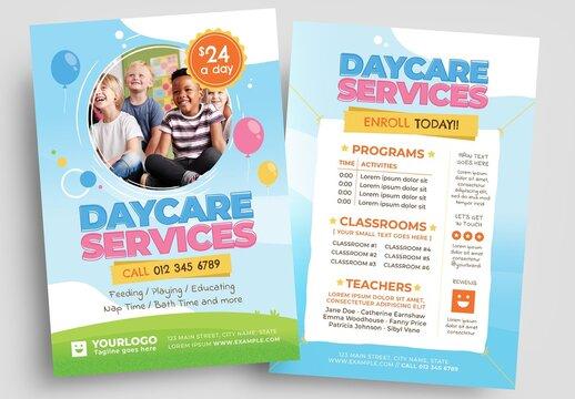 Daycare Flyer Layout for Kindergarten Preschool Services