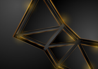 Fotobehang - Black and golden abstract corporate background with triangles. Geometric shiny vector design
