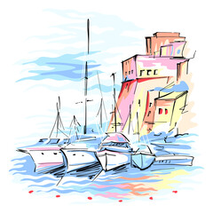 Fototapete - Vector sketch of pier with fishing boats and medieval fortress in Cala Marina, harbour of Castellammare del Golfo, Sicily, Italy.