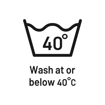 Wash at 40 degree icon with text. Water temperature 40C vector sign. Wash temperature 40. Laundry icon isolated on white background.