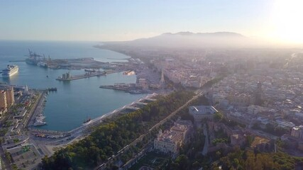 Wall Mural - Beautiful, aerial cityscape of coast in Malaga by sunset, Spain