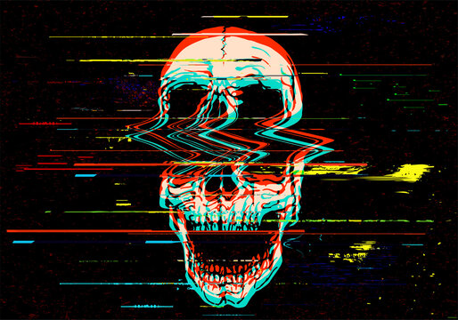Vector illustration of digital glitch screaming skull in VHS or old TV  style image in rgb mode offset.