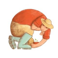 Vitruvian gardener illustration. farmer inscribed in circle. Man in red shirt, straw hat and rain boots