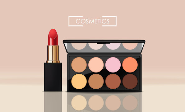 Realistic eye shadow package and red lipstick, make up packaging palette, 3d cosmetics elegant design, graphic banner vector