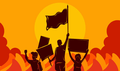 Vector illustration of People Protesting and demonstrate to bring justice with holding flag and sign and chaotic fire and smoke riot in the background