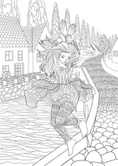 Coloring book for adults with beautiful girl dancing in the cute european village with small houses, a bridge and a river