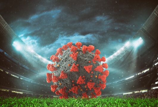 Close up of a virus soccerball inside the stadium