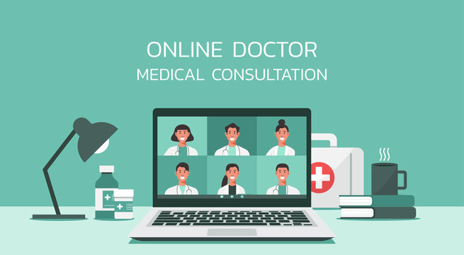 online healthcare and medical consultation services concept, group of doctors teleconferencing with stethoscope on laptop screen, conference video call, new normal, vector flat illustration