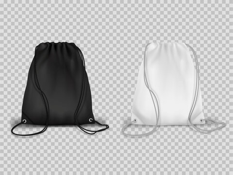 Sport drawstring backpacks realistic set. Cinch tote bags black and white.