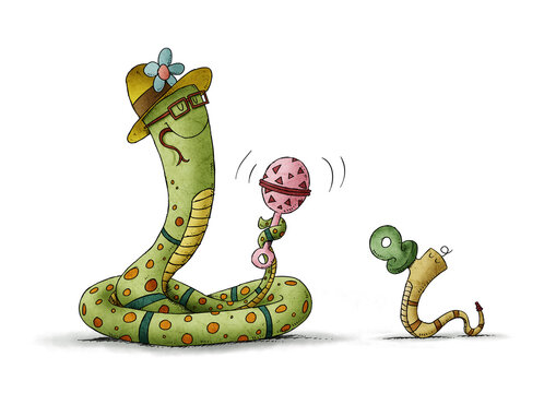 mother snake waves a colorful rattle to a baby snake that has a pacifier. motherhood concept. isolated