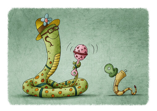 mother snake waves a colorful rattle to a baby snake that has a pacifier. motherhood concept
