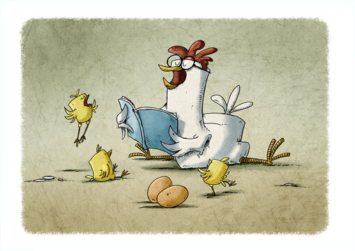 hen with glasses is reading a story to three yellow chicks who are very happy
