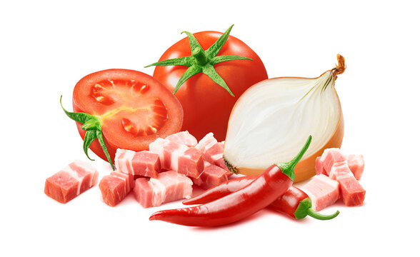 Amatriciana, Italian salsa sauce ingredients. Tomato, onion, red hot chili pepper and bacon isolated on white background.