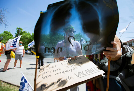 Healthcare workers protest demanding safer working conditions and time off amid the coronavirus disease (COVID-19) outbreak in Montreal