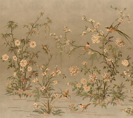 vintage floral background wallpaper planet bards old panting décor wall - 353701316
