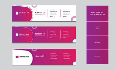 Professional Personal Corporate Business email signature layout vector design Template
