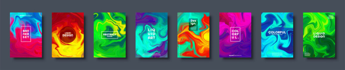 Canvas Prints Textures Colorful abstract geometric background. Liquid dynamic gradient waves. Fluid marble texture. Modern covers set. Vector illustration.