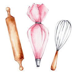Kitchen set of pink pastry bag, wooden rolling pin and whisk; watercolor hand draw illustration; can be used for confectioner's logo or kitchen poster; with white isolated background