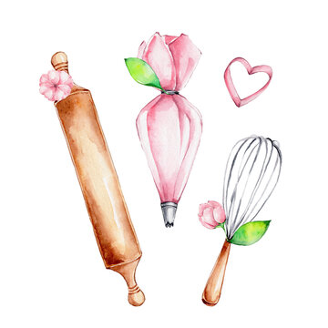 Kitchen set of pink pastry bag, wooden rolling pin, whisk and pink flowers; watercolor hand draw illustration; can be used for confectioner's logo or kitchen poster; with white isolated background