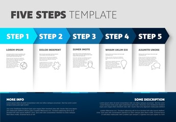 Five Step Infographic Layout with Blue Accents