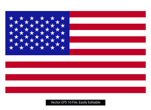 vector image of American flag. USA colored flag flat vector.