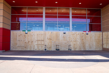 Maple Grove, Minnesota - May 29, 2020: A Target store is boarded up to prevent looting and riots due to the death of George Floyd by Minneapolis police department