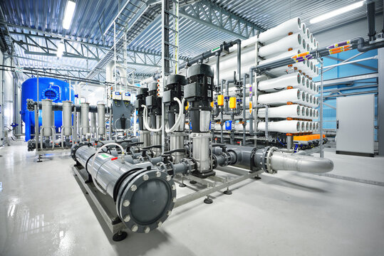 Pump station for reverse osmosis industrial city water treatment station. Wide angle perspective. Industry, technology, special equipment, biotechnology, heating, ecology, environment
