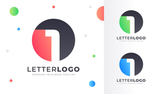 Colorful Gradient Number 1 One Letter Logo Rounded Circle Logo Design Template for Property, restaurant, Health, shop, tech and all Kinds Company Business. Vector Template