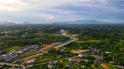 Aerial drone topview of Pak Dee Rum Pi Dam at Chantaburi province in Thailand.