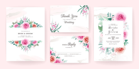 Set of wedding invitation template with floral frame, border, and gold brush stroke. Flowers composition vector for save the date, greeting, thank you, rsvp, etc