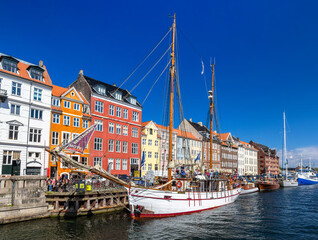 COPENHAGEN, DENMARK - MAY 29, 2014: Boats at Nyhavn in Copenhagen. Nyhavn is a 17th-century waterfront, canal and entertainment district