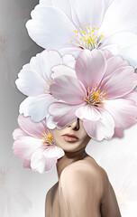 Ilustracja dziewczy, kwiaty we włosach