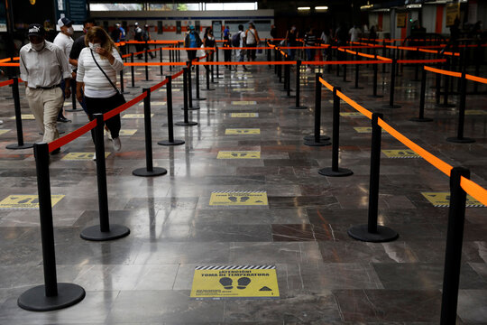 Social distance markers are seen on floor inside a metro, as the government plans to start easing restrictions amid the outbreak of the coronavirus disease (COVID-19) in Mexico City