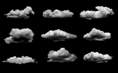 Collection of White cloud isolated on black background realistic cloud. Fotobehang