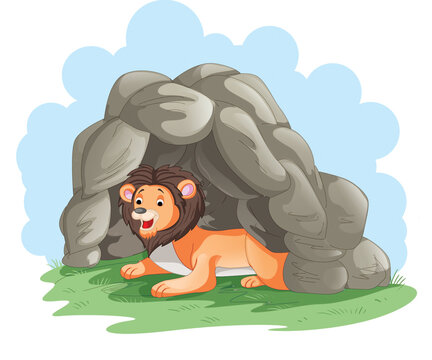 a lion in the den