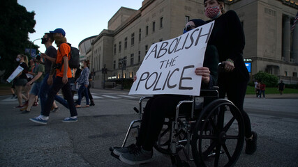 Protest against the death in Minneapolis police custody of African-American man George Floyd, in St Louis, Missouri