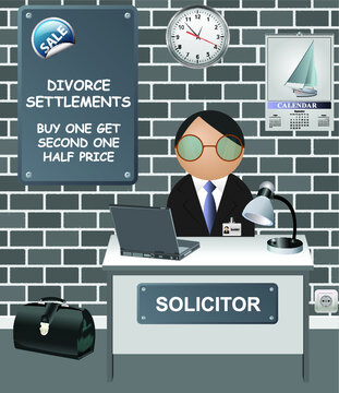 Comical Solicitors office with sale offer on divorce settlements one and get second half price
