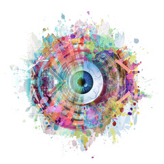 abstract background with circles and eye