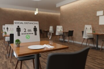 Papiers peints Restaurant Social distancing restaurant, please keep 2 meters distance 3D rendering