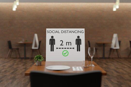 Social distancing restaurant,  keep 2 meters distance 3D rendering