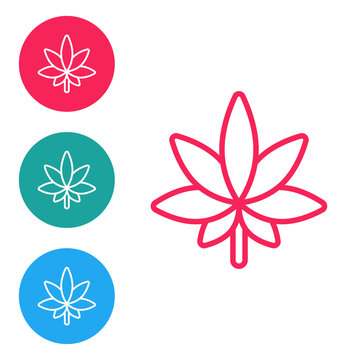 Red line Medical marijuana or cannabis leaf icon isolated on white background. Hemp symbol. Set icons in circle buttons. Vector Illustration.