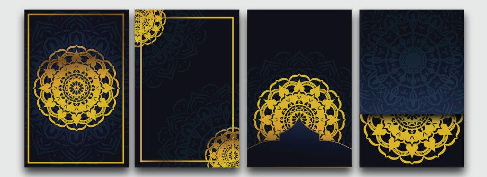 set of golden mandala template with elegant, classic elements. Great for invitation, flyer, menu, brochure,background Premium Vector